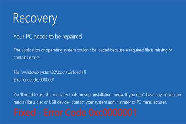 6 rješenja za kôd pogreške 0xc0000001 Windows 10 pri pokretanju [MiniTool Savjeti]