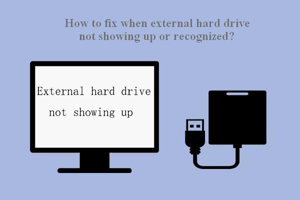 Corrección de error: el disco duro externo no se muestra o no se reconoce [MiniTool Tips]
