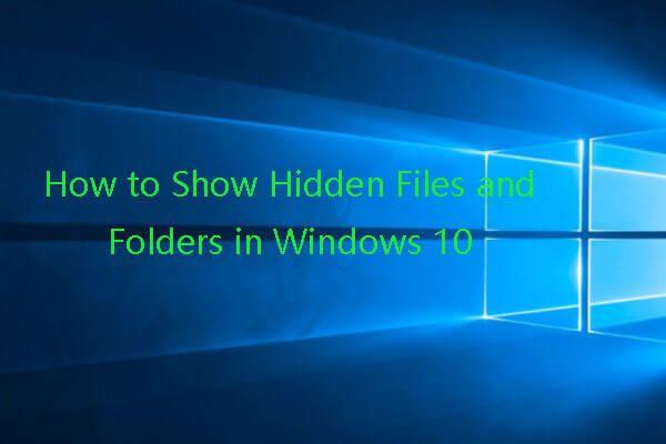 Peidetud failide kuvamine Windows 10 (CMD + 4 viisi) [MiniTooli uudised]