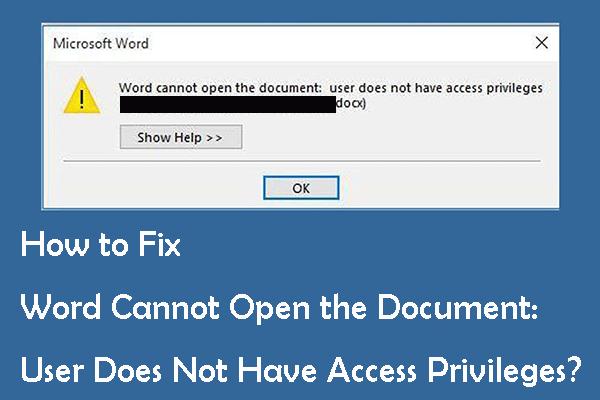 Kuidas parandada Wordi kasutajal pole juurdepääsuõigusi? [MiniTooli uudised]