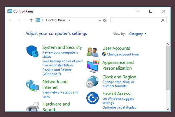 10 formas de abrir el panel de control de Windows 10/8/7 [Noticias de MiniTool]