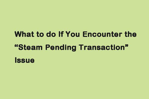 Što učiniti ako naiđete na izdanje 'Transakcija na čekanju s parom' [MiniTool News]
